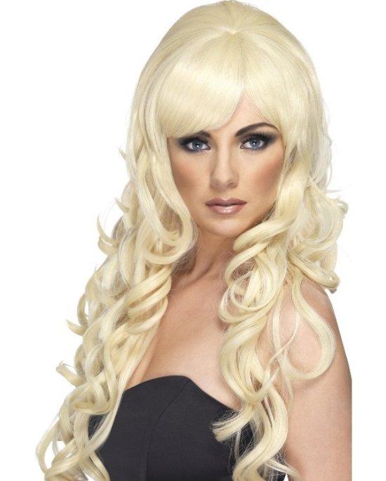 Popstjerne parykk i blondt Tilbeh?r