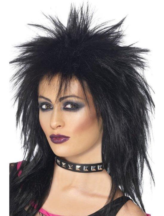 Rock diva 80-talls lang parykk i sort tilbeh?r