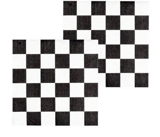 Rutete servietter, svart/hvitt Festartikler