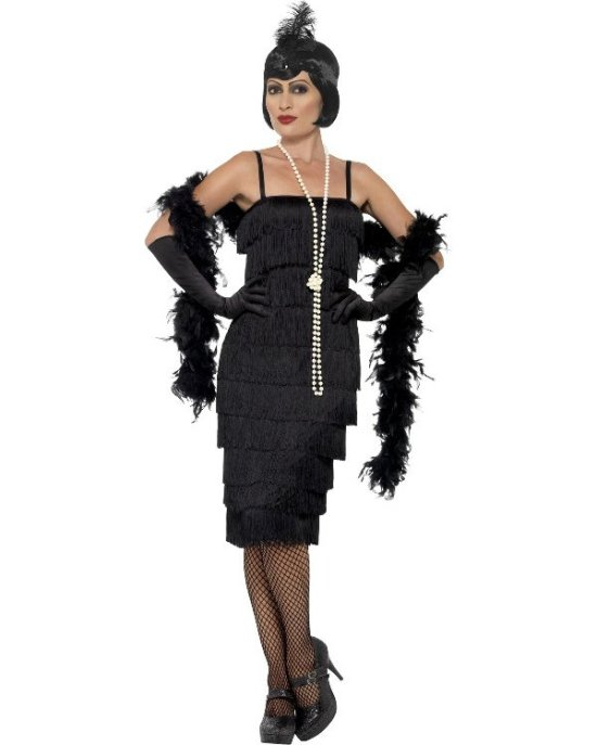 Lang svart flapper, plus size Kostymer