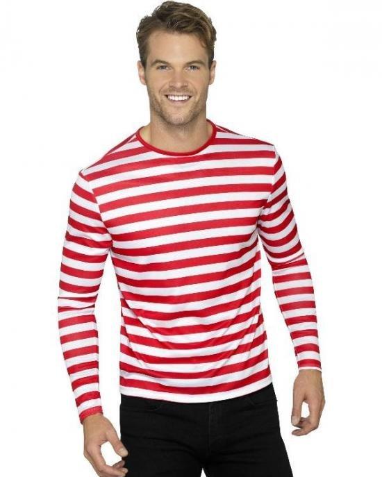 R?d/hvit stripete t-skjorte Kostymer