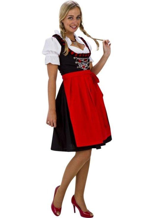 Klassisk tyrolerkjole i svart/hvit/r?d kostyme