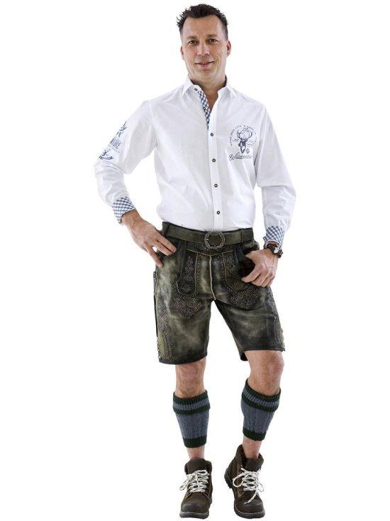 Hvid Tyrolerskjorte m. broderi Kostymer