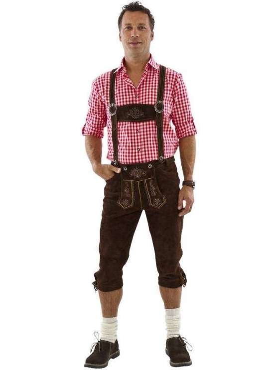 Ekte skinn Lederhosen i m?rke brun Kostymer