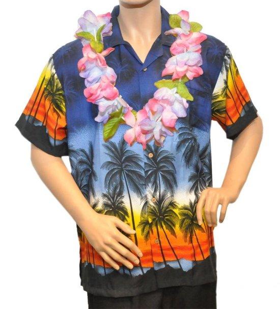 M?rkeblaa Hawaiiskjorte Kostymer